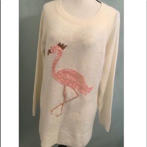 Sequin Flamingo Sweater Size Large